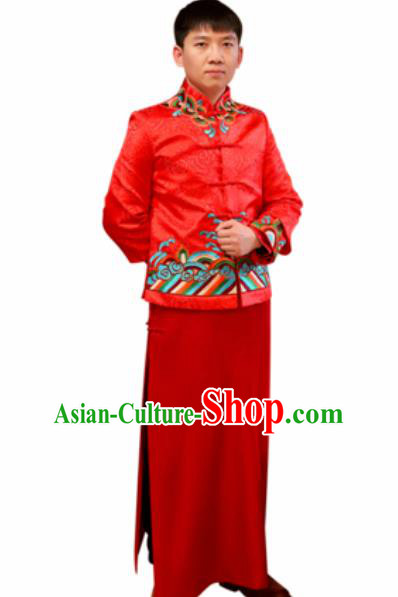 Chinese Traditional Wedding Costume Ancient Bridegroom Embroidered Red Tang Suit Robe for Men