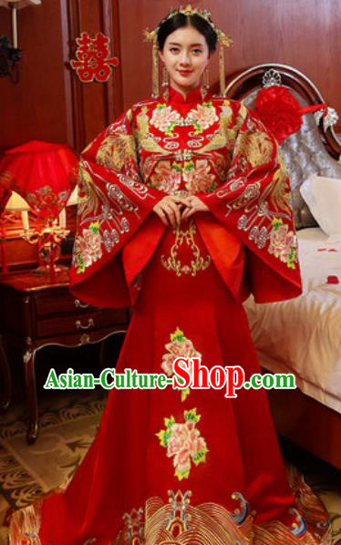 Traditional Chinese Embroidered Phoenix Peony Wedding Dress Ancient Bride Red Xiu He Costume for Women
