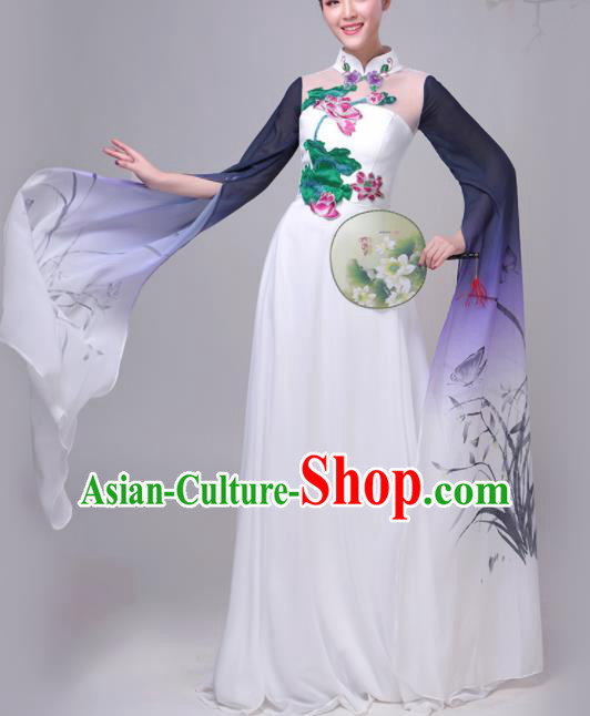 Chinese Traditional Lotus Dance Costume Classical Dance Group Dance Chorus Purple Dress for Women