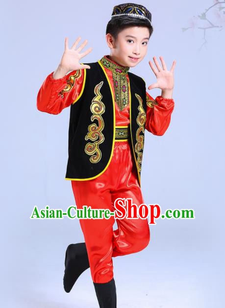 Chinese Traditional Uyghur Ethnic Folk Dance Costume Classical Dance Group Dance Red Dress for Kids