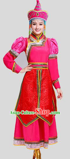 Chinese Traditional Mongolian Princess Folk Dance Rosy Dress Mongol Nationality Ethnic Costume for Women