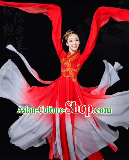 Chinese Traditional Water Sleeve Dance Red Costume Classical Dance Group Dance Dress for Women