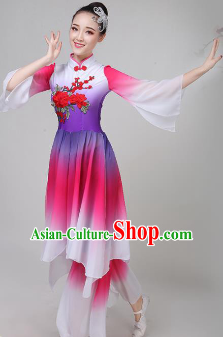 Chinese Traditional Folk Dance Rosy Costume Classical Dance Group Dance Dress for Women