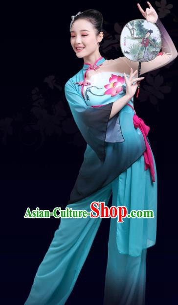 Chinese Traditional Stage Performance Fan Dance Blue Costume Classical Dance Group Dance Dress for Women