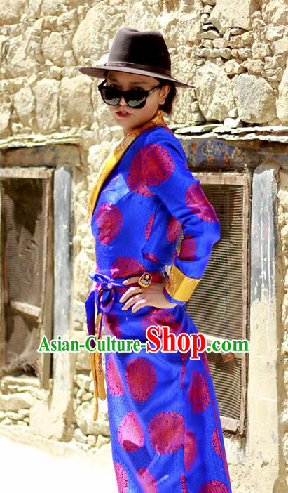 Chinese Traditional Tibetan Folk Dance Blue Dress Zang Nationality Ethnic Costume for Women