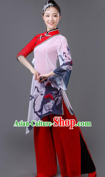 Chinese Traditional Stage Performance Dance Red Costume Classical Dance Group Dance Dress for Women