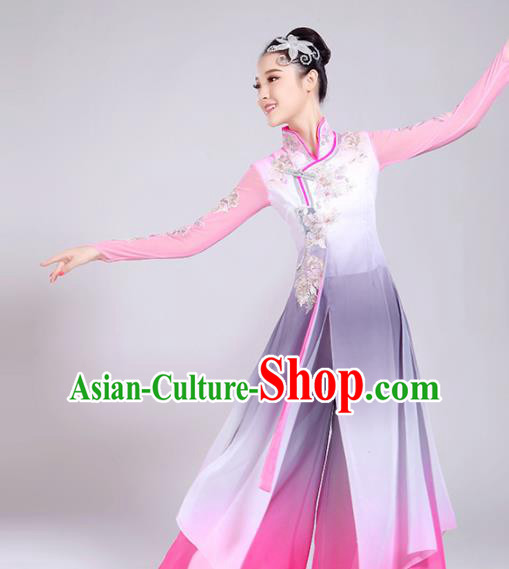 Chinese Traditional Stage Performance Umbrella Dance Costume Classical Dance Group Dance Pink Dress for Women
