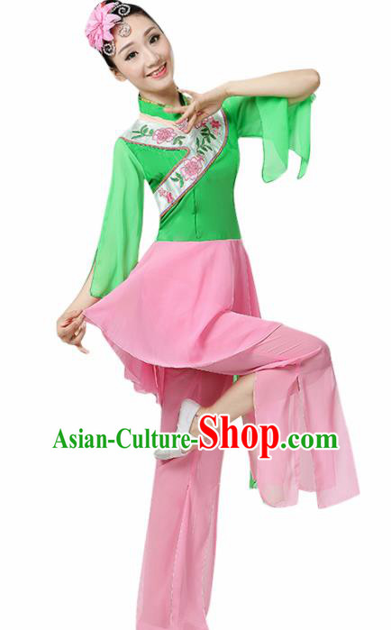 Chinese Traditional Stage Performance Fan Dance Green Costume Folk Dance Yangko Dance Dress for Women