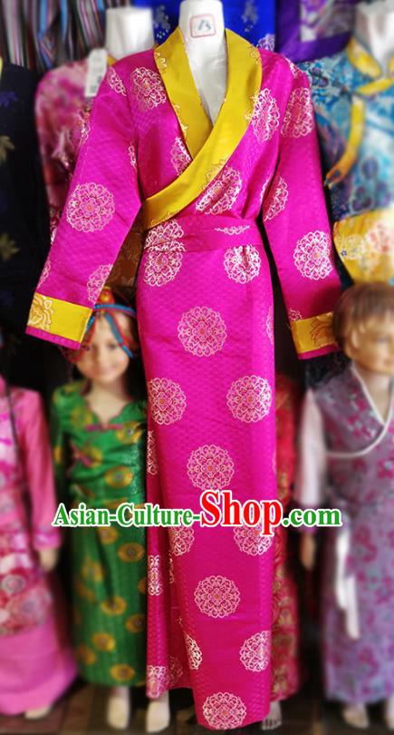 Chinese Traditional Tibetan Folk Dance Rosy Dress Zang Nationality Ethnic Costume for Women