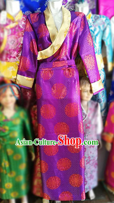Chinese Traditional Tibetan Folk Dance Purple Dress Zang Nationality Ethnic Costume for Women