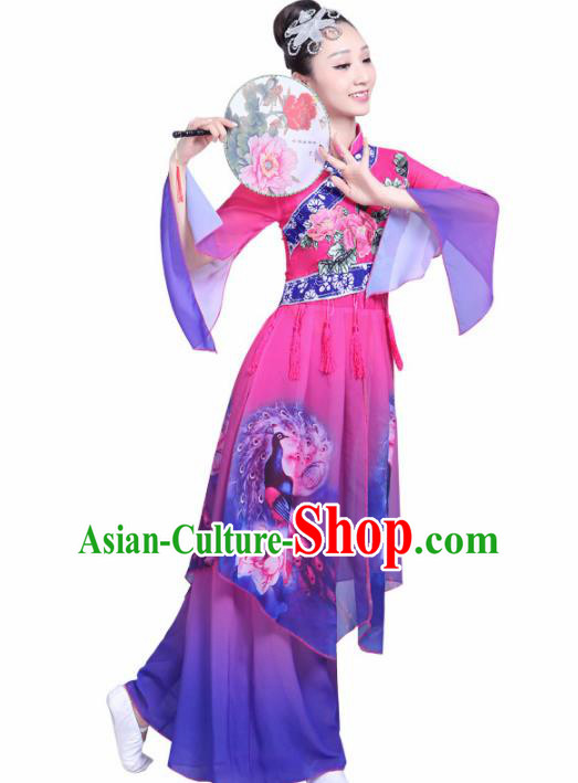 Chinese Traditional Fan Dance Stage Performance Purple Costume Folk Dance Yangko Dance Dress for Women
