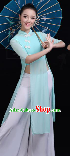 Chinese Traditional Fan Dance Blue Costume Classical Dance Group Dance Dress for Women