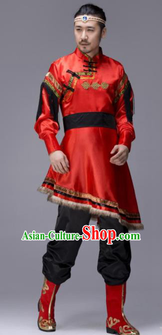 Chinese Traditional Tibetan Ethnic Folk Dance Red Costume Zang Nationality Dance Clothing for Men
