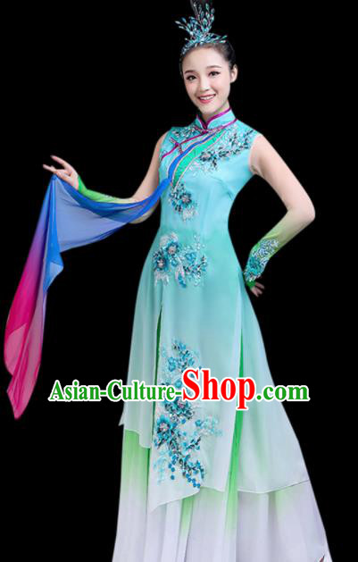 Chinese Traditional Stage Performance Umbrella Dance Green Costume Classical Dance Group Dance Dress for Women