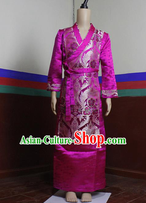 Chinese Traditional Tibetan Heishui Dance Rosy Dress Zang Nationality Ethnic Costume for Women