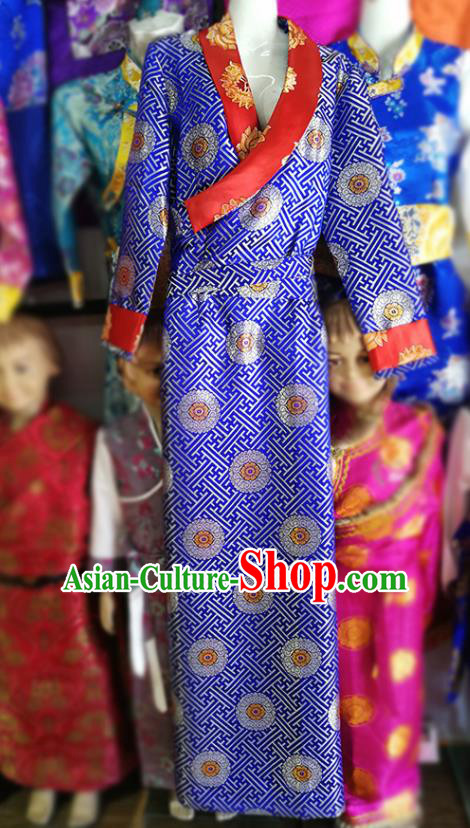 Chinese Traditional Tibetan Heishui Dance Royalblue Dress Zang Nationality Ethnic Costume for Women