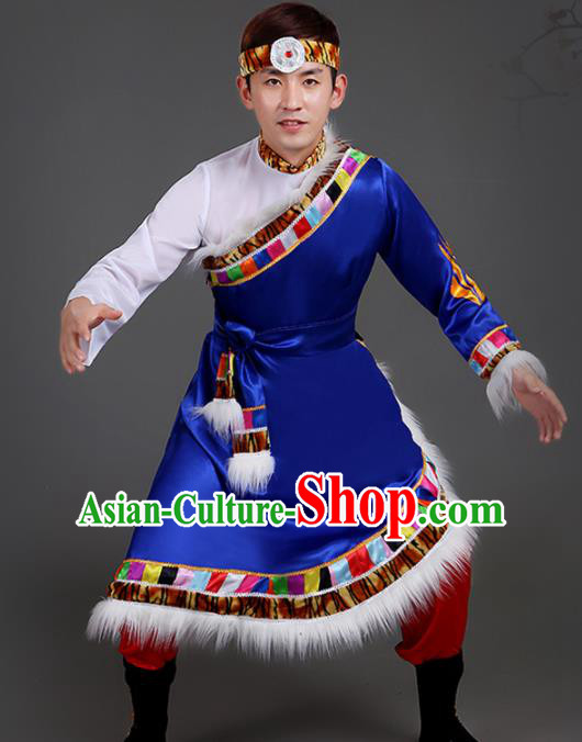 Chinese Traditional Ethnic Folk Dance Costume Zang Nationality Dance Clothing for Men