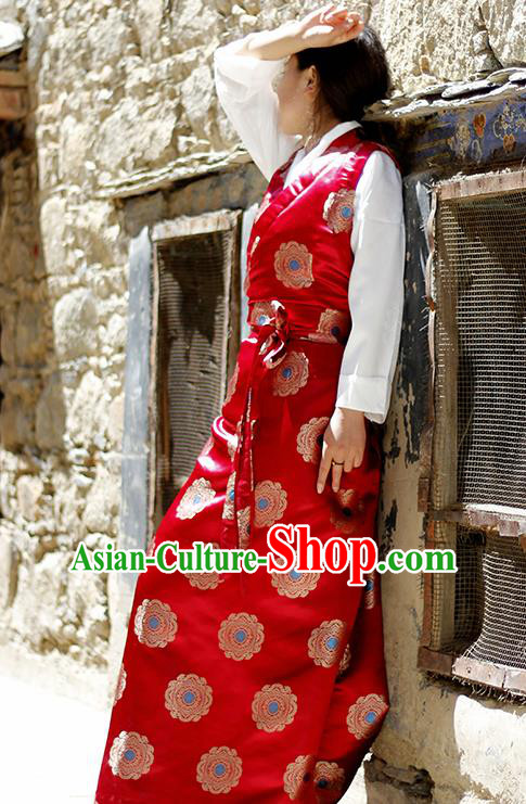 Chinese Traditional Tibetan Red Dress Zang Nationality Heishui Dance Ethnic Costume for Women