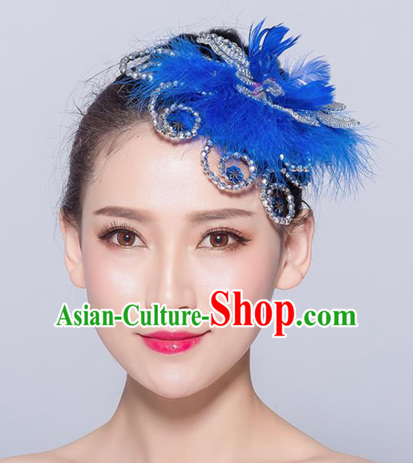 Chinese Traditional Folk Dance Deep Blue Feather Hair Accessories Stage Performance Yangko Dance Hair Stick for Women