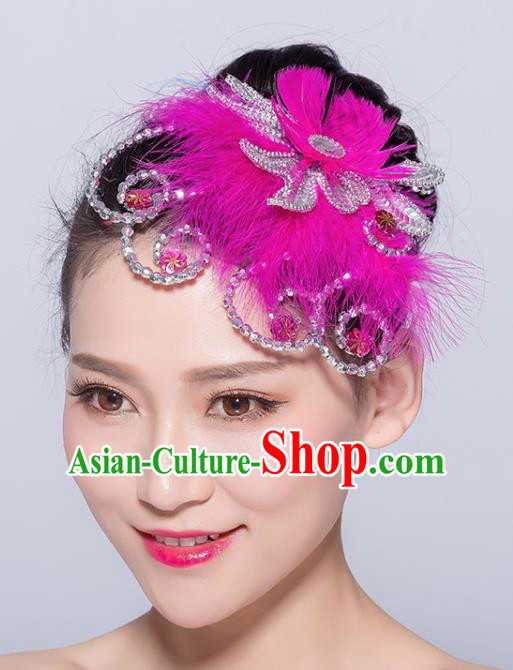 Chinese Traditional Folk Dance Rosy Feather Hair Accessories Stage Performance Yangko Dance Hair Stick for Women