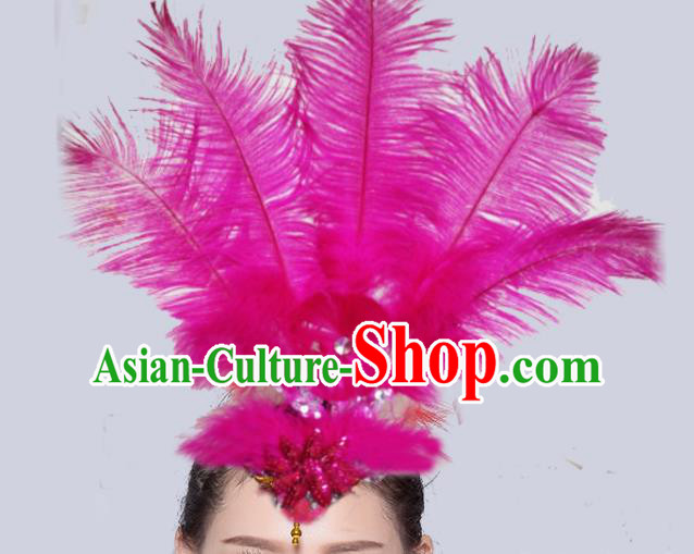Chinese Traditional National Yangko Dance Rosy Feather Hair Stick Folk Dance Hair Accessories for Women