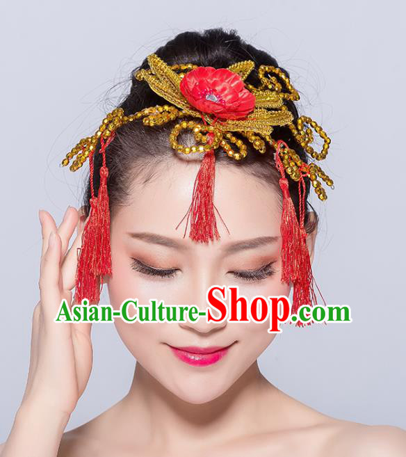 Chinese Traditional Yangko Dance Red Flower Tassel Hair Stick National Folk Dance Hair Accessories for Women