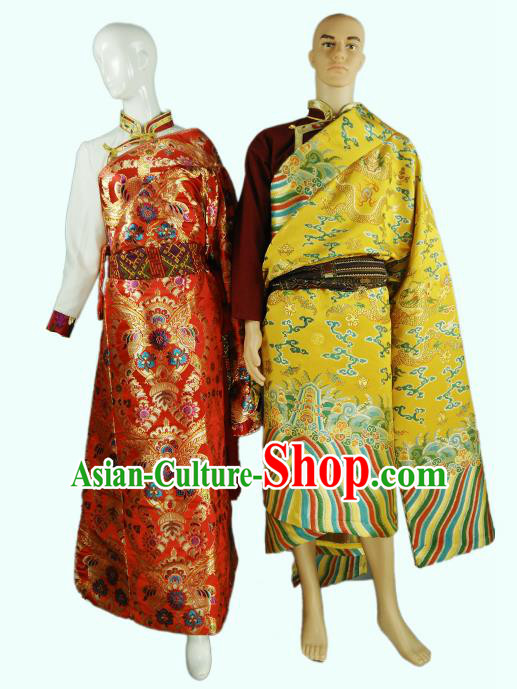Chinese Traditional Tibetan Kham Bride and Bridegroom Clothing Zang Nationality Heishui Dance Ethnic Costumes for Women for Men