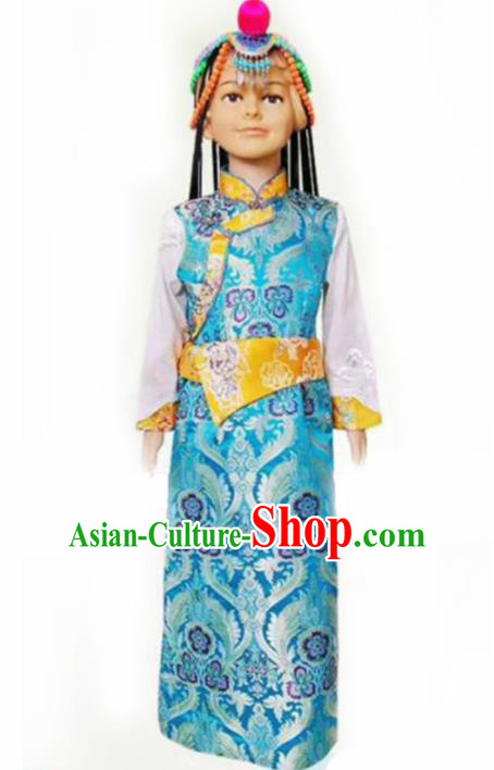 Chinese Traditional Tibetan Girls Kham Blue Dress Zang Nationality Heishui Dance Ethnic Costumes for Kids