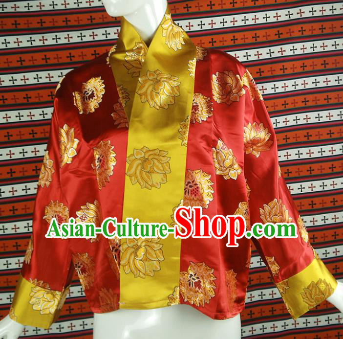 Chinese Traditional Tibetan Ethnic Red Blouse Zang Nationality Heishui Dance Costume for Women