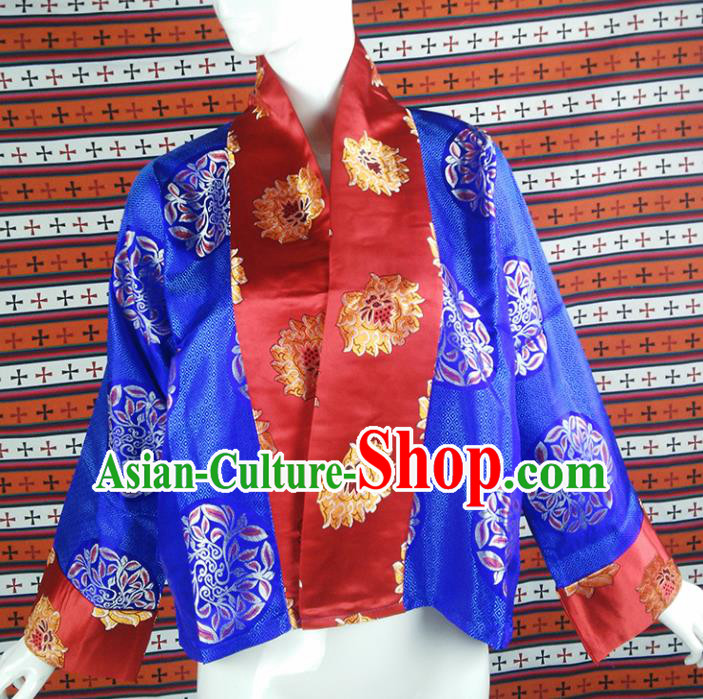 Chinese Traditional Tibetan Ethnic Blue Blouse Zang Nationality Heishui Dance Costume for Women