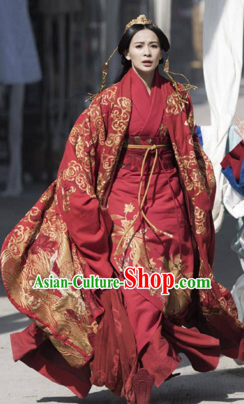 Chinese Ancient Warring States Period The Lengend of Haolan Princess Ya Wedding Historical Costume and Headpiece for Women