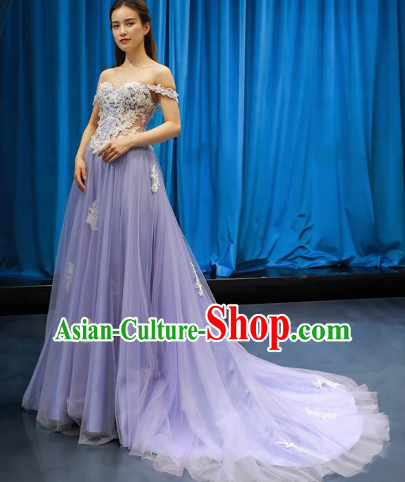 Top Grade Wedding Dress Compere Full Dress Princess Embroidered Purple Veil Costume for Women