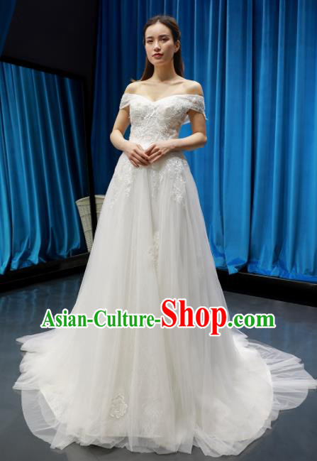 Top Grade Wedding Dress Bride Full Dress Princess Costume Train Wedding Gown for Women