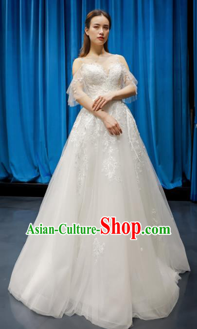 Top Grade Wedding Dress Bride Full Dress Princess Costume White Veil Cocktail Gown for Women