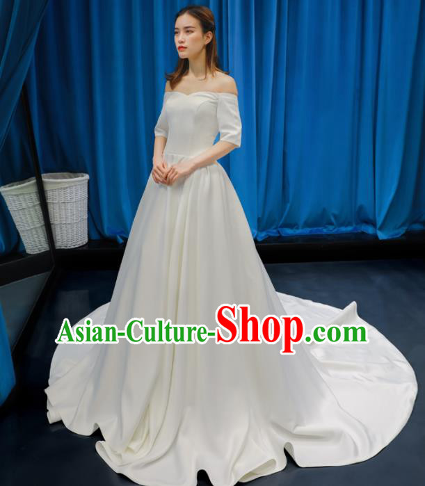 Top Grade Flat Shouders Wedding Dress Bride Full Dress Princess Costume White Satin Gown for Women