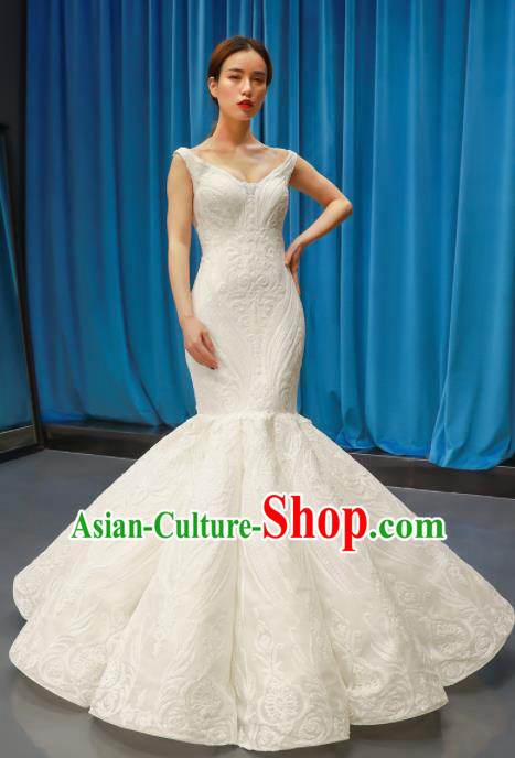 Top Grade Fishtail Wedding Dress Bride Full Dress Princess Costume White Veil Gown for Women