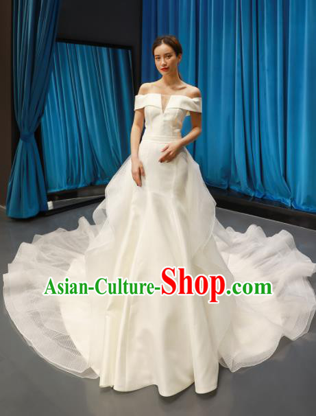 Top Grade Wedding Dress Bride Trailing Full Dress Princess Costume White Veil Gown for Women