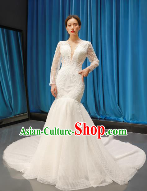 Top Grade Trailing Wedding Dress Bride Full Dress Princess Costume White Veil Gown for Women