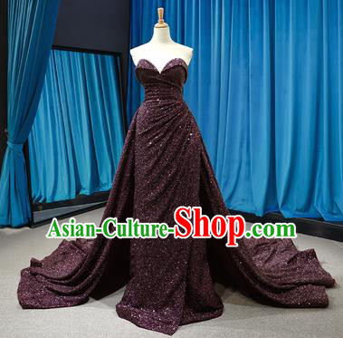 Top Grade Compere Strapless Full Dress Princess Purple Paillette Trailing Wedding Dress Costume for Women