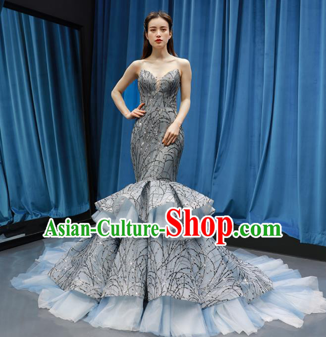 Top Grade Compere Grey Veil Fishtail Full Dress Princess Wedding Dress Costume for Women