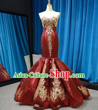 Top Grade Compere Wine Red Veil Fishtail Full Dress Princess Wedding Dress Costume for Women