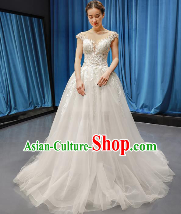 Top Grade Wedding Gown Bride Trailing Full Dress Princess Costume White Veil Dress for Women