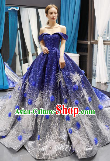 Top Grade Compere Royalblue Trailing Full Dress Princess Bubble Wedding Dress Costume for Women