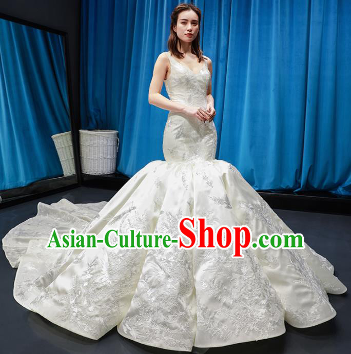 Top Grade Fishtail Wedding Gown Bride Costume White Veil Trailing Full Dress Princess Dress for Women