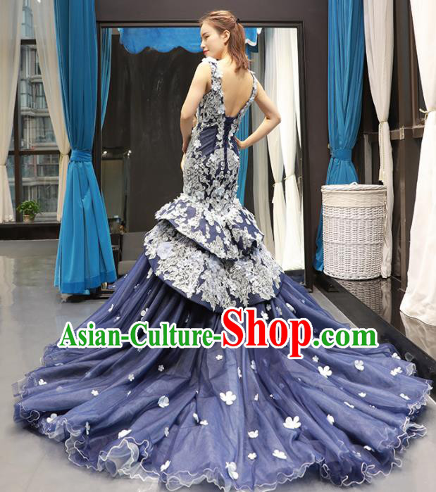 Top Grade Compere Deep Blue Fishtail Full Dress Princess Trailing Wedding Dress Costume for Women