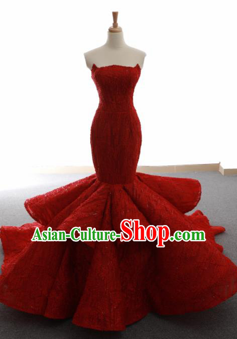 Top Grade Compere Fishtail Full Dress Princess Red Lace Wedding Dress Costume for Women