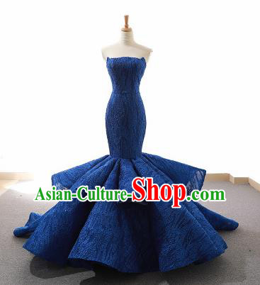 Top Grade Compere Fishtail Full Dress Princess Royalblue Lace Wedding Dress Costume for Women
