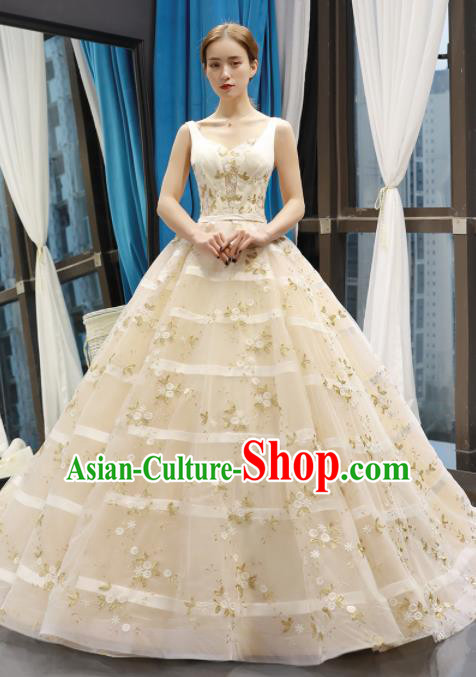 Top Grade Compere Beige Trailing Full Dress Princess Embroidered Wedding Dress Costume for Women