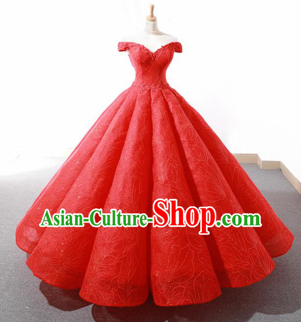Top Grade Compere Red Bubble Full Dress Princess Embroidered Veil Wedding Dress Costume for Women