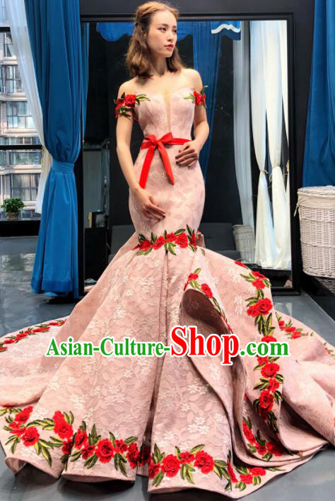 Top Grade Compere Trailing Full Dress Princess Pink Fishtail Wedding Dress Costume for Women